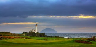 Turnberry with Ailsa Craig offshore.