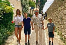 Sir Rod Stewart and wife Penny Lancaster with their sons Alastair and Aidan.