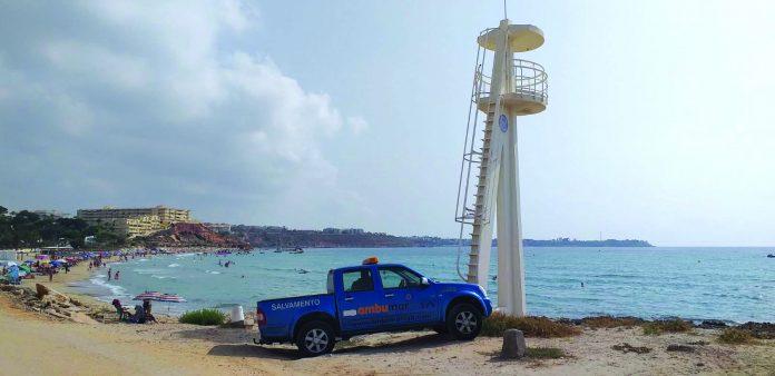 The tower at La Glea beach lies empty