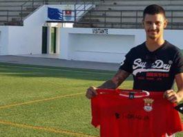 Dani O'Rourke shows off his CF San Fulgencio new club shirt.