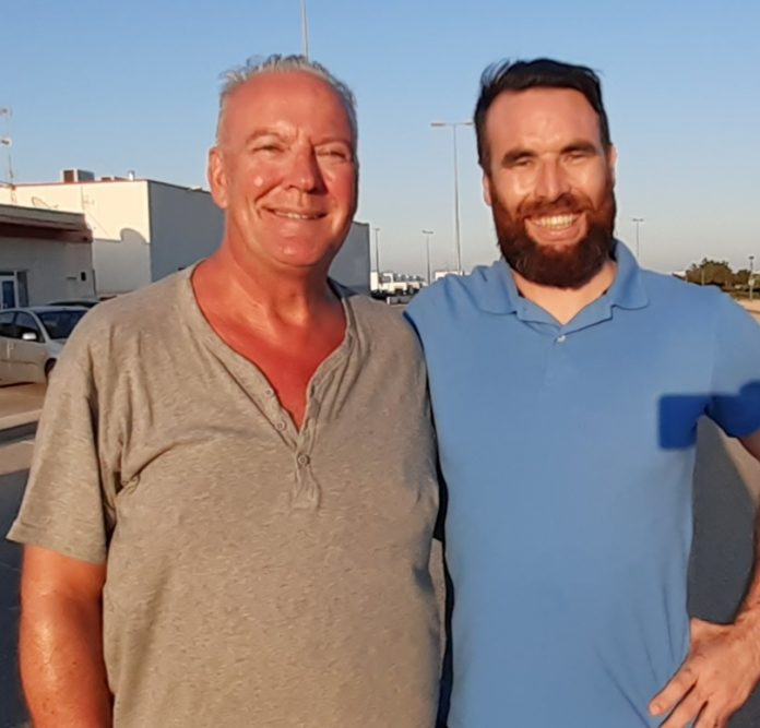 Reporter Andrew Atkinson (left) with Todo Deportivo new coach Lenny Lenehan - World Cup winner.