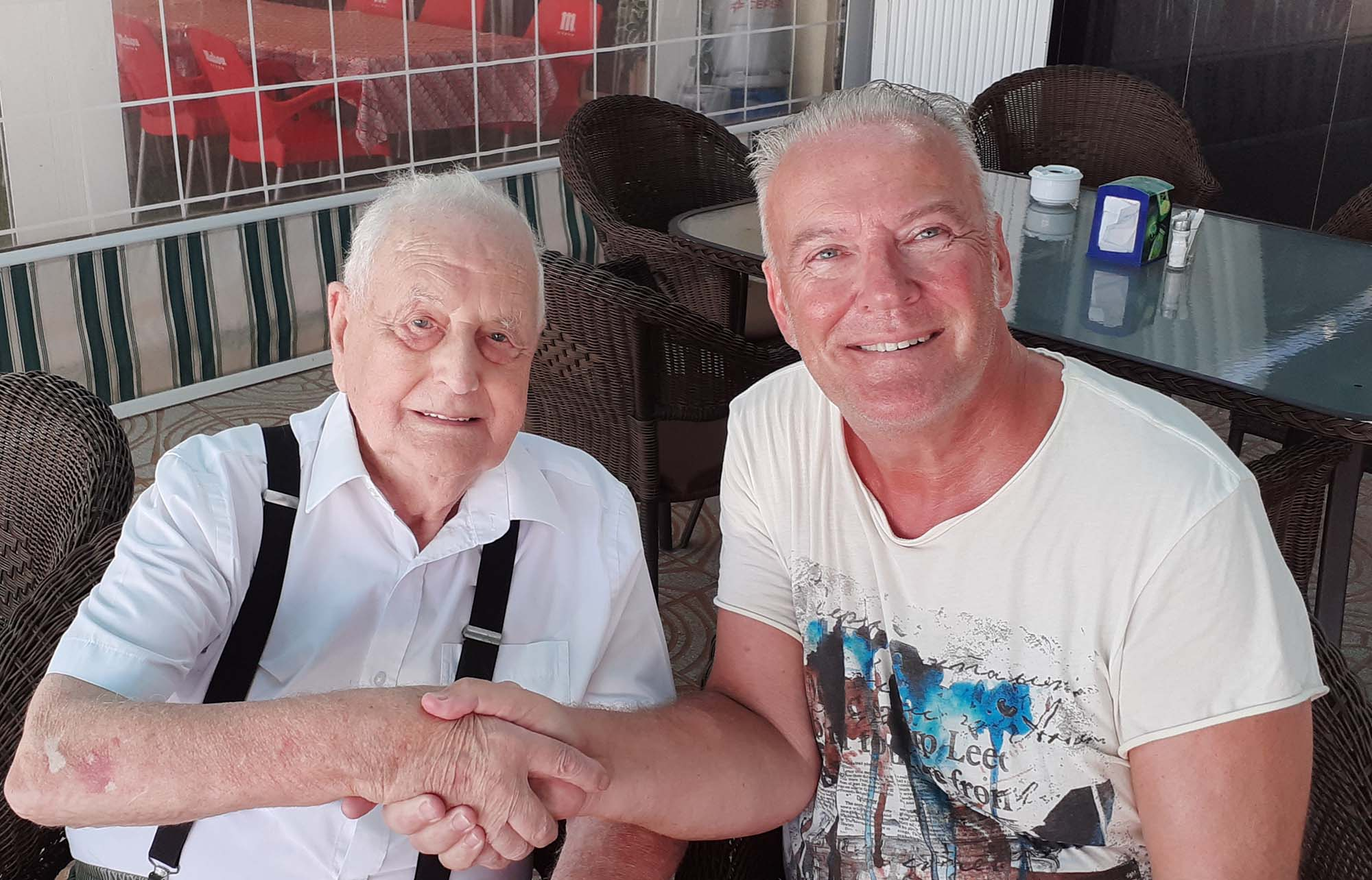 Author Andrew Atkinson with 91 year old Len Oliver.