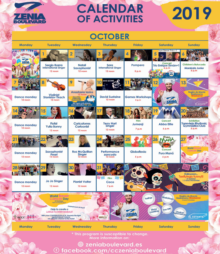 La Zenia Boulevard Calendar of Activities for October 2019