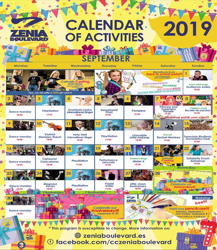 La Zenia Boulevard Calendar of Activities for September 2019