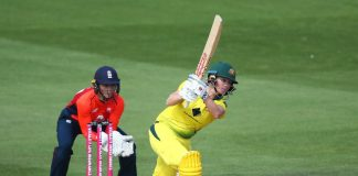 Beth Mooney of Australia bats during the 2nd Vitality Women's IT20 at The 1st Central County Ground on July 28, 2019 in Hove, England.