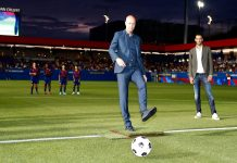 Jordi Cruyff kicks off the first ever game held at the new facility named after his father