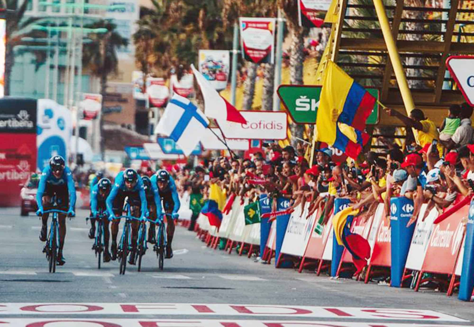 Columbia's Miguel Angel Lopez became the first rider to claim the leader's red jersey at La Vuelta 19 after his Astana Pro Team dominated the opening team time trial on Saturday evening.