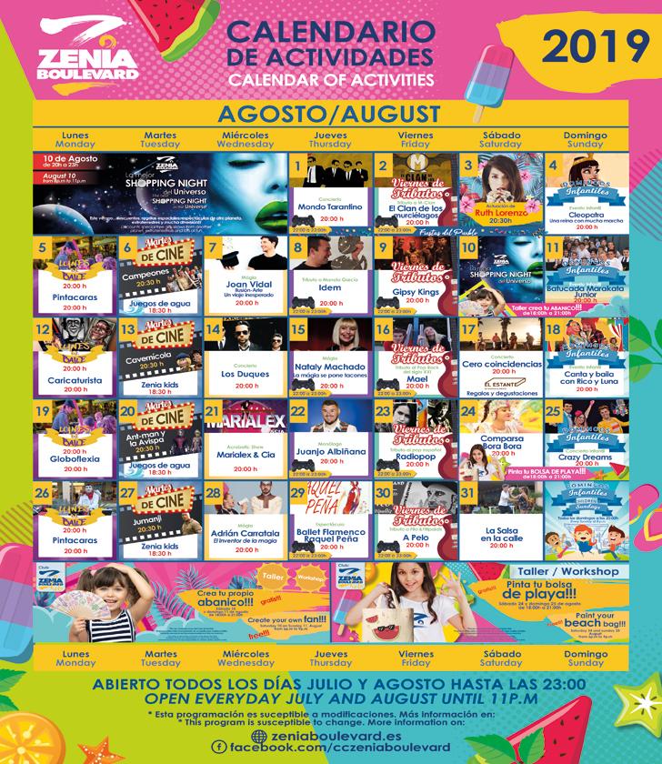 La Zenia Boulevard Calendar of Activities for August 2019