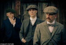 Thomas Shelby (Cillian Murphy) centre, with Arthur (Paul Anderson) right.