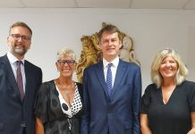 (left to right): Lloyd Milen, British Consul General; Sue Wilson, Bremain in Spain; HMA Hugh Elliott; Debbi Wilson, Brexpats – Hear our Voice
