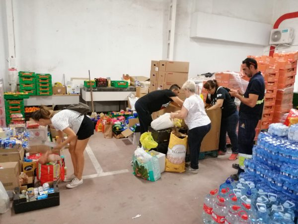 A centre in Orihuela that is distributing food and water across the municipality