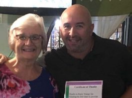 Barry Young receiving his certificate from HDA Secretary, Margaret Tozer