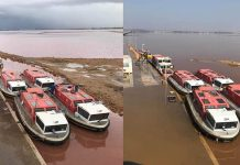Gota Fria: Before and after photographs of the Torrevieja salinas.