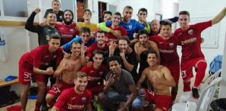 Racing San Miguel celebrate in the dressing room after a 5-2 win over Sporting San Fulgencio.