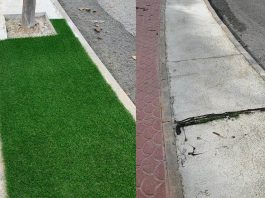 *Newly laid astro turf ripped up in Rojales.