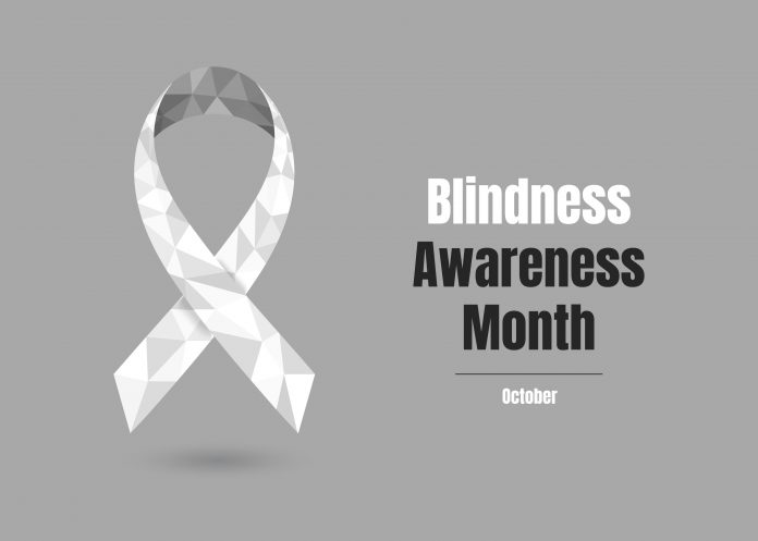 Blindness Awareness Month - October - concept with white awareness ribbon. Colorful vector illustration for web and printing.