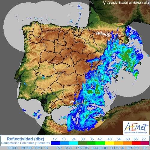 AEMET Orange warning - from Yellow - heavy rain north of Alicante