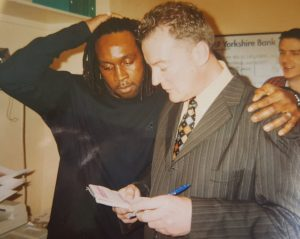 Nigel Benn with journalist Andrew Atkinson.
