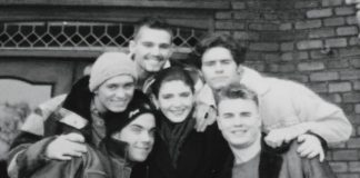 *Gary Barlow (front, right) with Take That at Bredbury Hall, Stockport.
