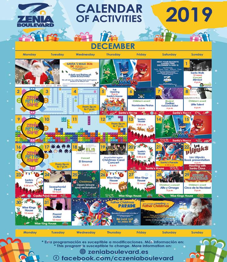 La Zenia Boulevard Calendar of Activities for December 2019