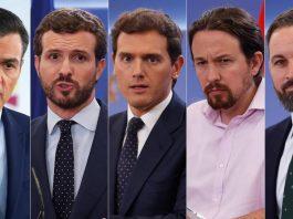 From left to right Pedro Sánchez (PSOE), Pablo Casado (PP), Albert Rivera (Ciudadanos), Pablo Iglesias (UP) and Santiago Abascal (Vox).