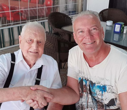 Len Oliver who passed away in Torrevieja Hospital, aged 92, with author Andrew Atkinson.