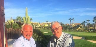 Jan Olav Frestad, founder of Ambera (left) with Peter Goodhall, Chief Executive of The Almanzora Bay Group upon the signing of contracts at Desert Springs Resort
