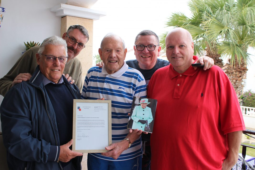 Percy Chafer with his RBL Certificate and a birthday card from the Queen on the occasion of his 100th birthday