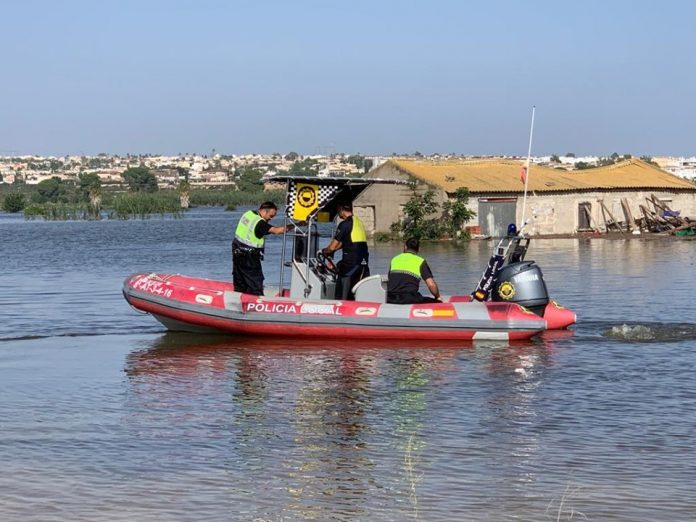 San Fulgencio's Local Police during the height of the floods