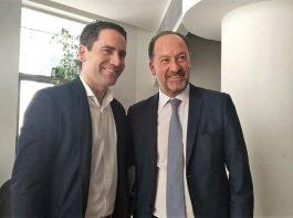 Deputy leader of the PP and good friend, Teodoro Garcia Egea with Emilio Bascunana