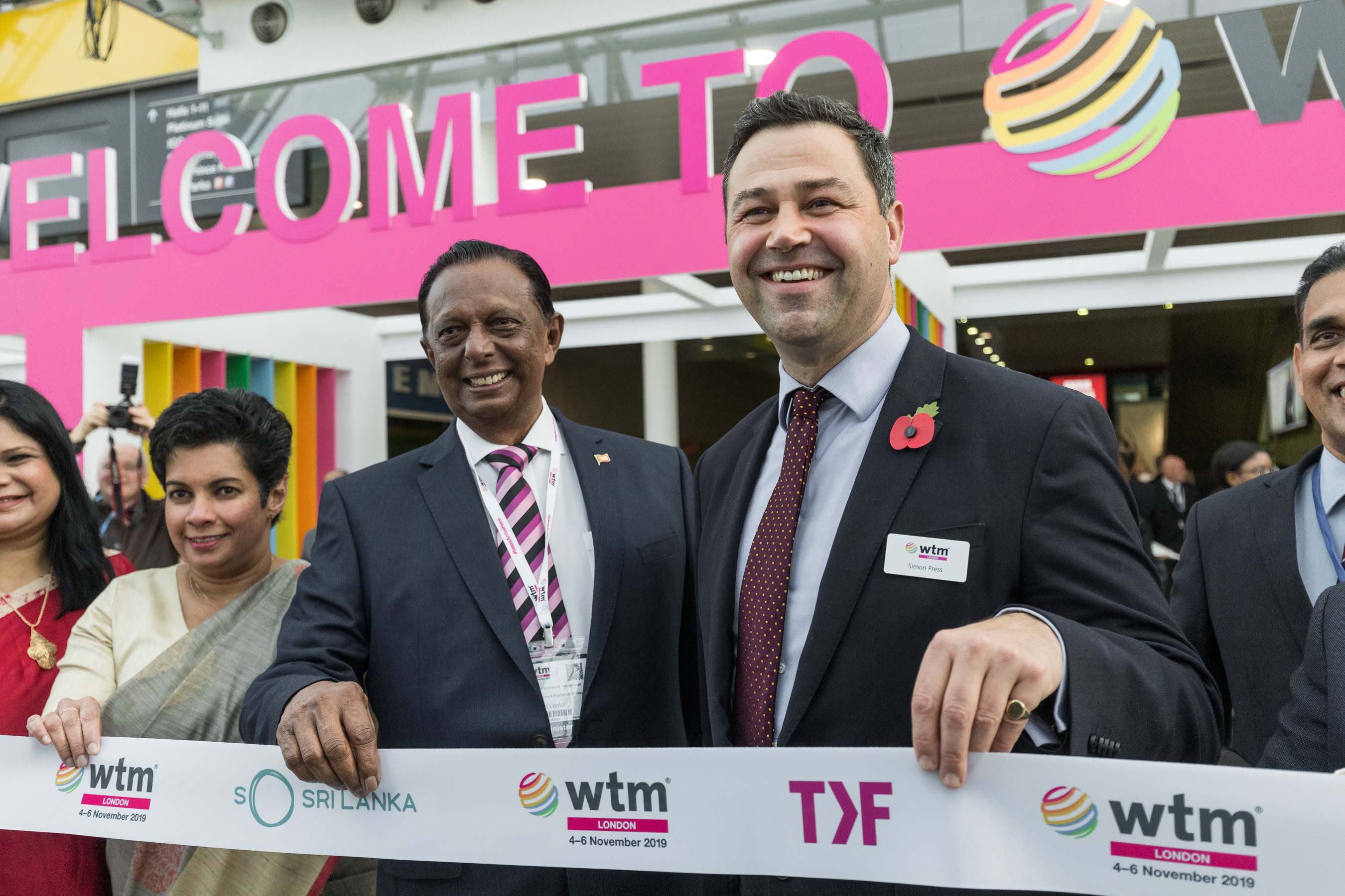 Rt Hon John Amaratunga, Minister of Tourism Development Sri Lanka and Simon Press, Senior Exhibition Director, performs the opening ceremony of the 40th World Travel Market