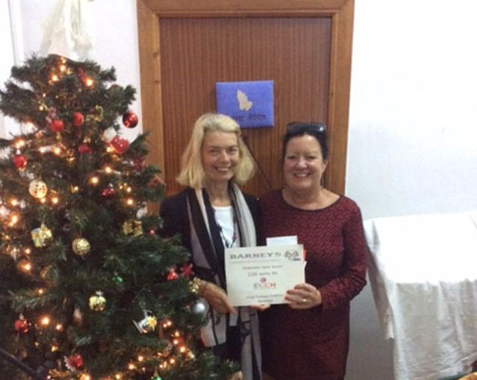 The main photo shows Hilary receiving a thank you certificate from ECCH volunteer Pam Edwards.