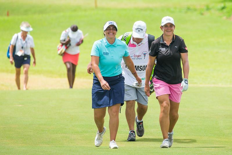 06/12/2019. Ladies European Tour 2019. Magical Kenya Ladies Open, Vipingo Ridge Golf Club, Kilifi County, Kenya. Dec 5-8 2019 Kelsey MacDonald and Michele Thomson of Scotland during the second round. Credit: Tristan Jones