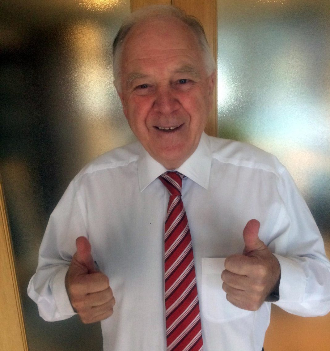 Craig gives the thumbs up to Stevie after award of BEM in The Queen's new year's honours list.