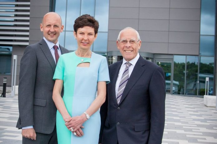 John Coates, Denise Coates and Peter Coates outside the bet365 Headquarters in Etruria