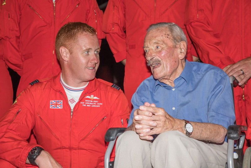 Maurice with Sqn Ldr Martin Pert of the Red Arrows