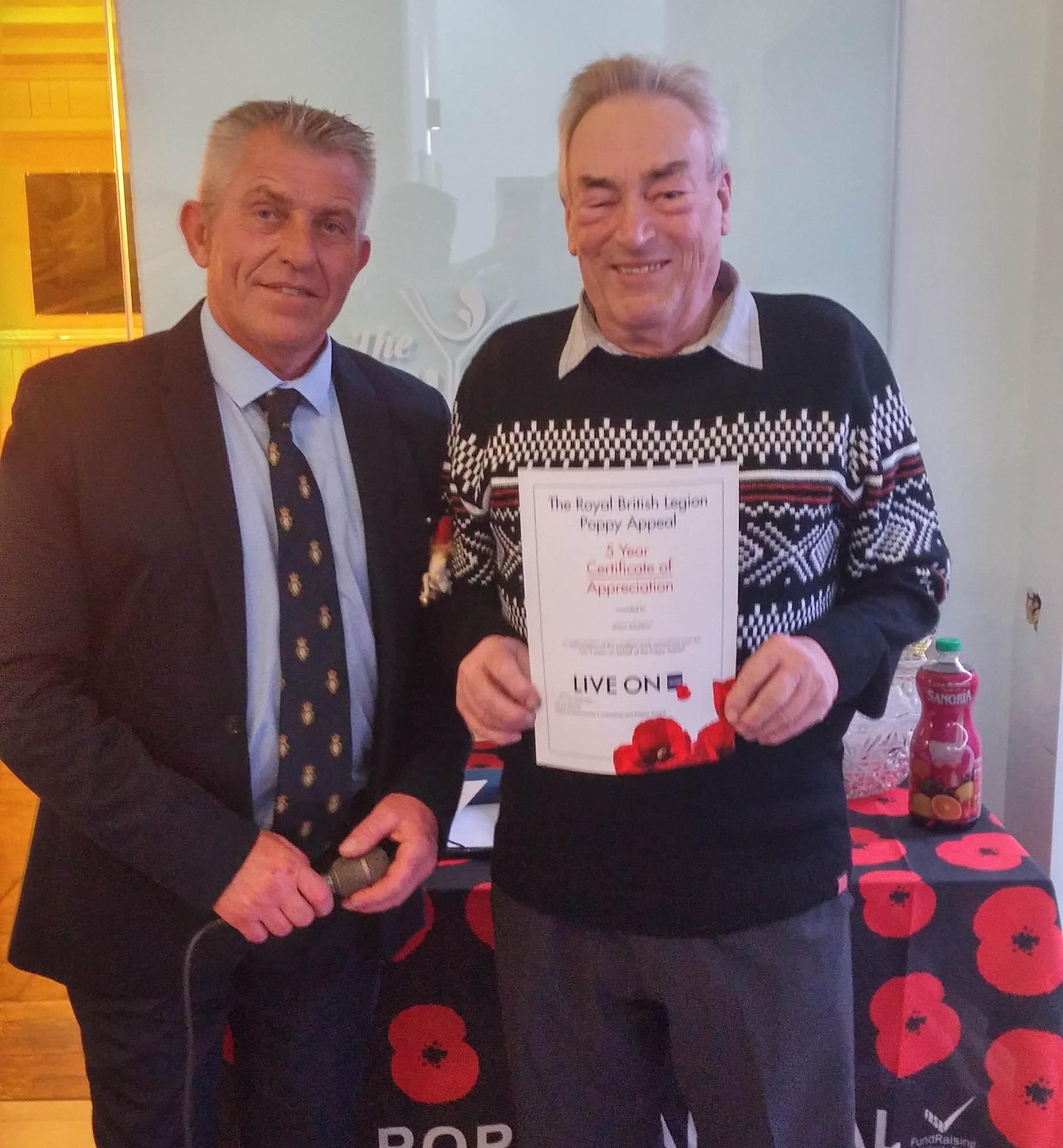 Poppy Award for Roger Kingham