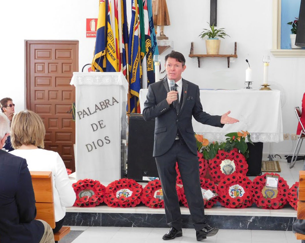 Stevie at the Orihuela Costa RBL Remembrance service in November