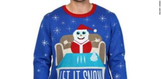 SANTA Claus jumpers that depict lines of COCAINE