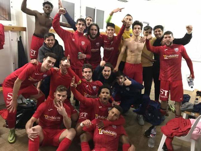 Racing ahead: San Miguel celebrate after defeating leaders Santa Pola CF.