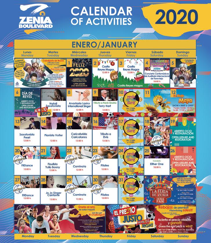 La Zenia Boulevard Calendar of Activities for January 2020