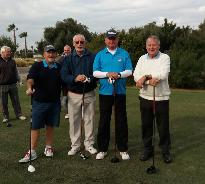 On the first tee left to right Peter List, Barrie Hopkinson, Ian Allison, and Martin Collins.