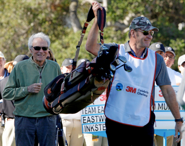 Clint Eastwood and his caddy Sir Nick Faldo.