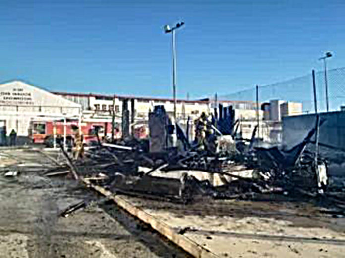 The Moncayo Market cafe-restaurant razed to the ground.