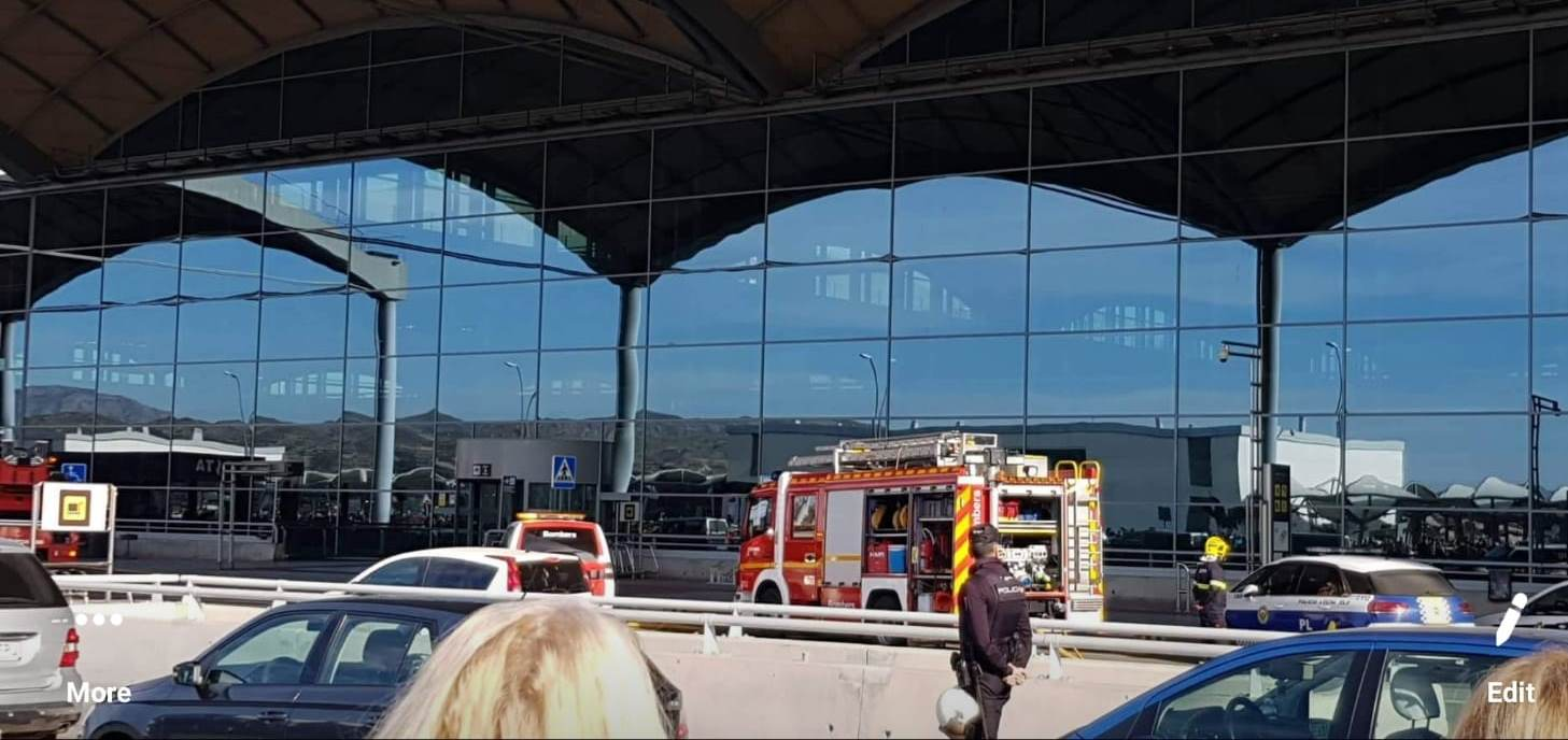 Fire tenders arriving at the airport terminal