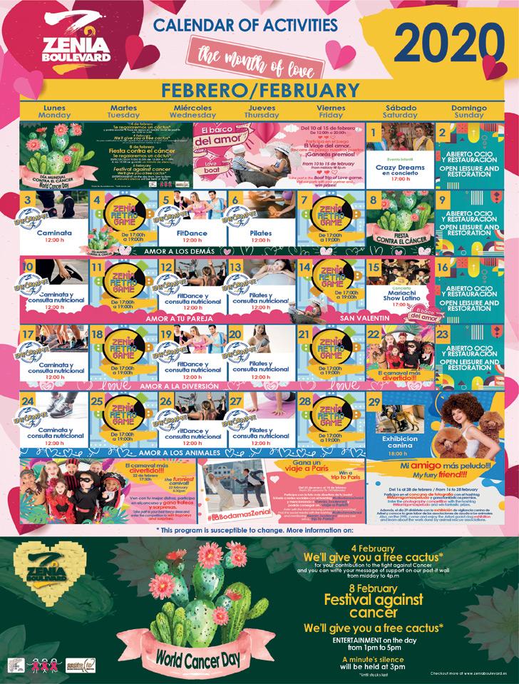 La Zenia Bouevard - Calendar of Activities for February 2020