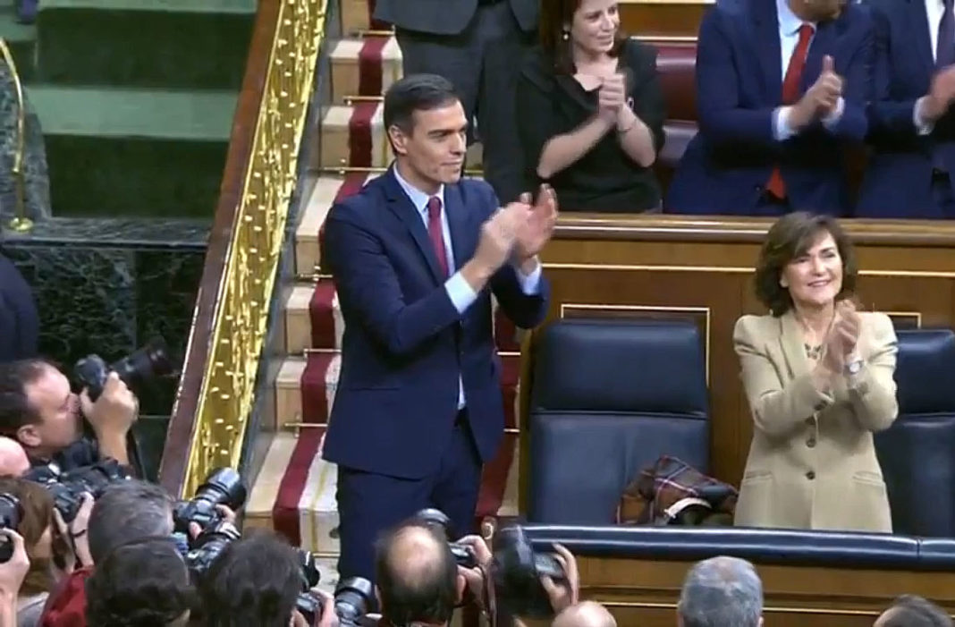 Pedro Sánchez has been elected as the new Prime Minister by a margin of just two votes.