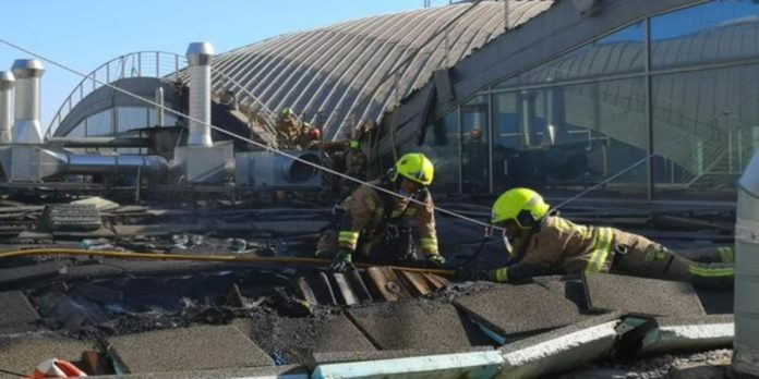 There is still a great deal of debris remaining on the roof
