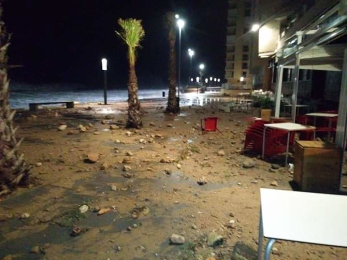 Debris along the promenade in Torrevieja as 100km winds hit in the storm.