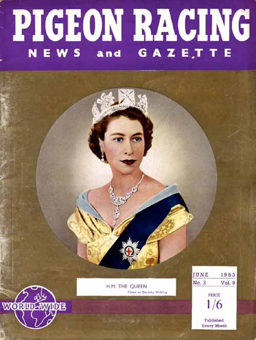 HM The Queen: Front cover of Pigeon Racing News and Gazette in 1953.